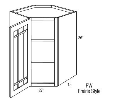 PGWDC2736: Wall Diagonal Cabinet With Prairie Style (Mullion) Glass Door: Branford Slab RTA Kitchen Cabinet