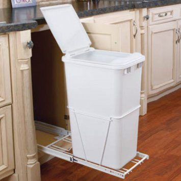 Single 50 Quart Pull-Out Waste Container with Lid and Full-Extension Slides