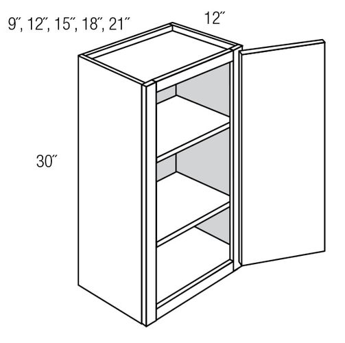 W2130: Single Door Wall Cabinet: Dover RTA Kitchen Cabinet