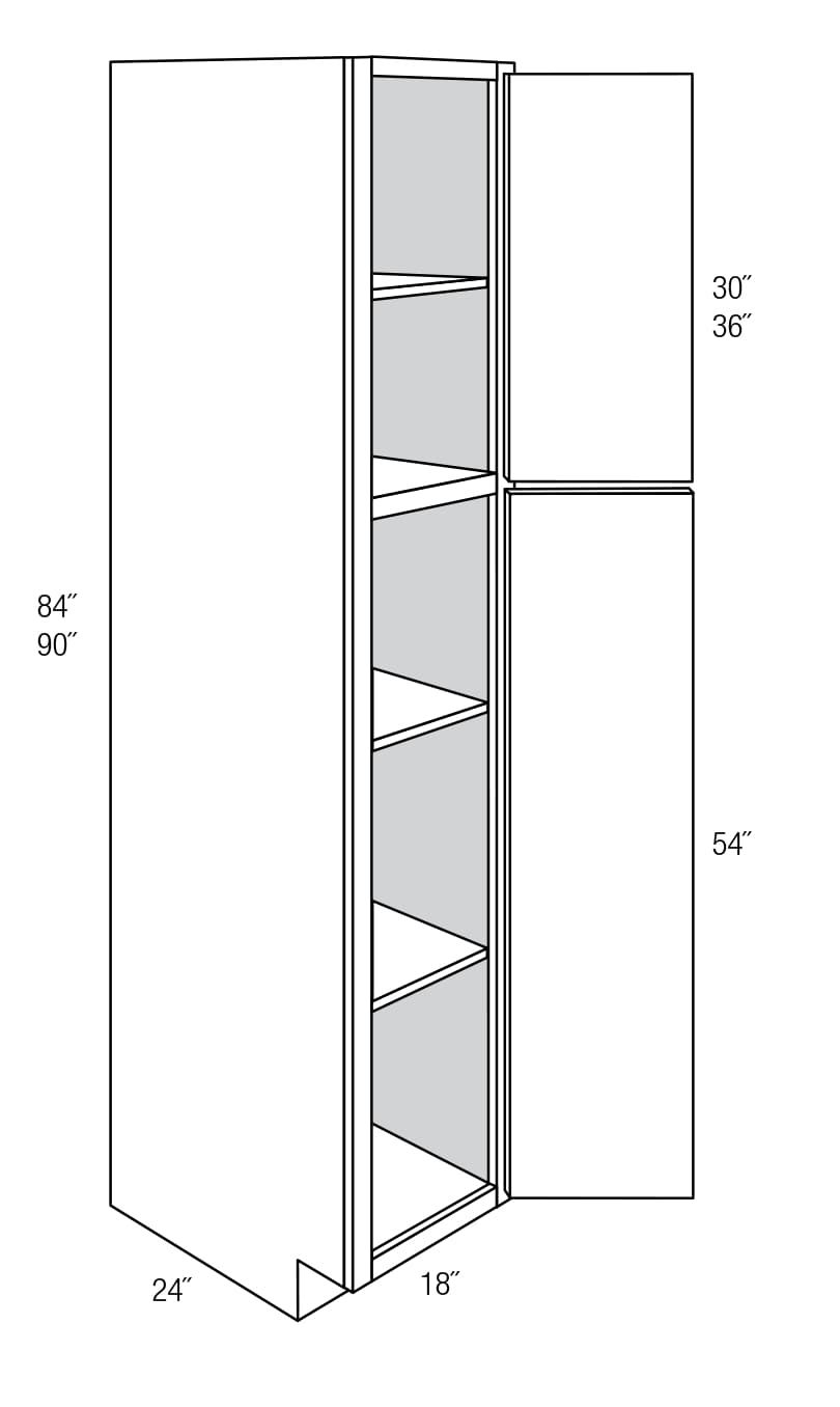 WP1884: Tall Pantry Cabinet: Amesbury Brown RTA Kitchen Cabinet