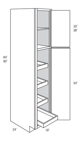 WP1884RT: Tall Pantry Cabinet With Roll-Out Trays: Amesbury Brown RTA Kitchen Cabinet