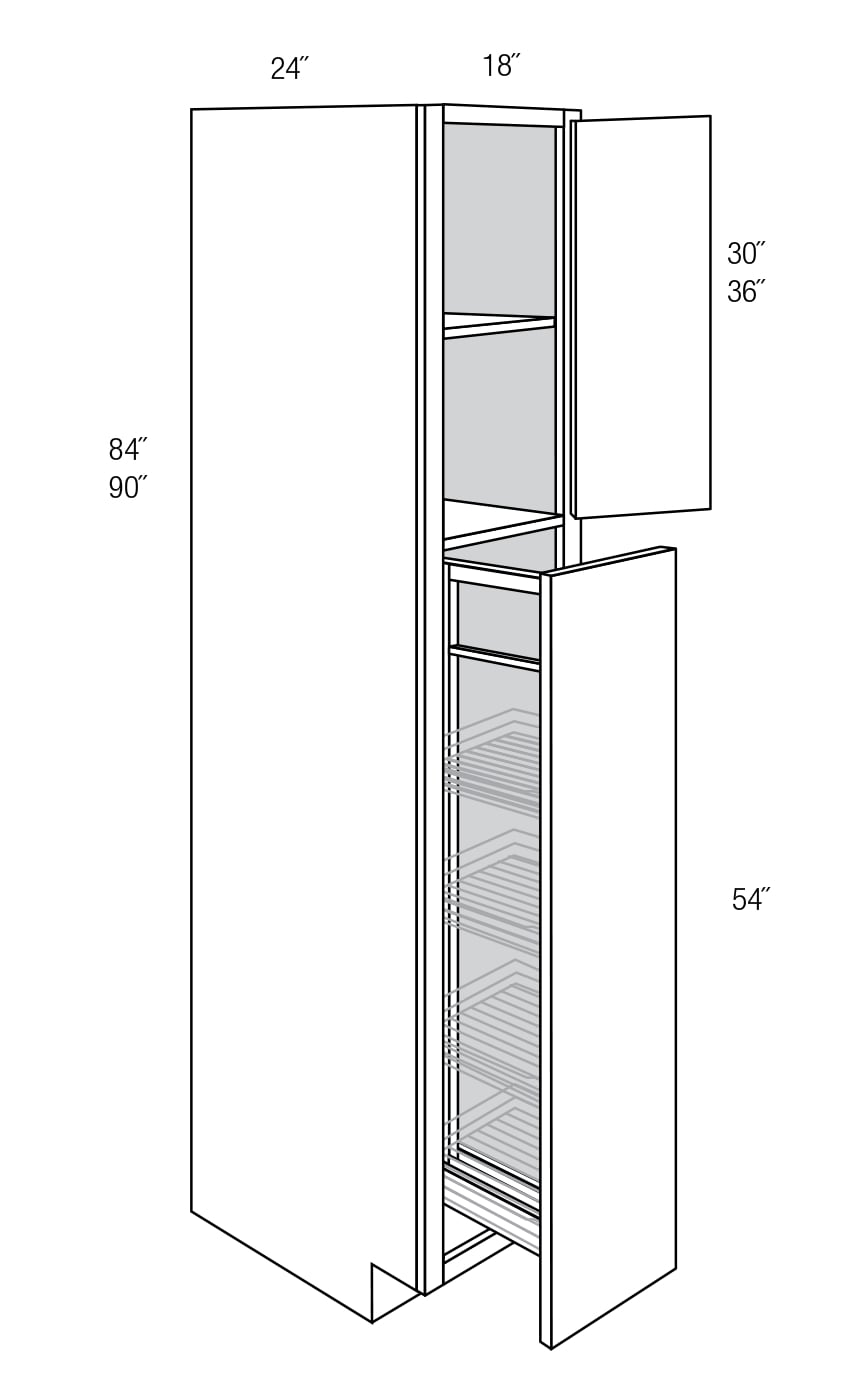 Wp1890po Tall Cabinet With Pull Out Dover Rta Kitchen Cabinet