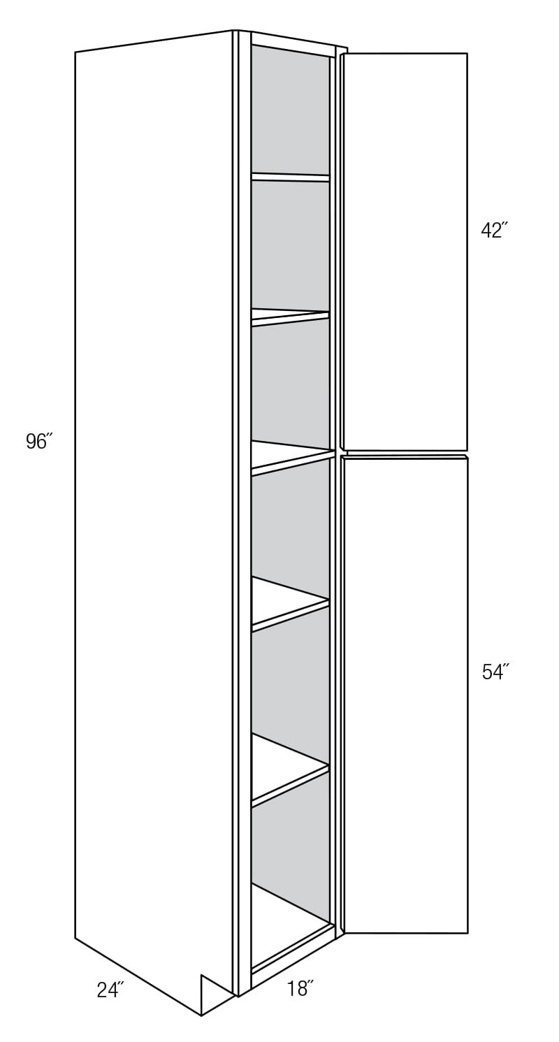 WP1896: Tall Pantry Cabinet: Amesbury Brown RTA Kitchen Cabinet