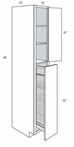 WP1896PO: Tall Cabinet With Pull Out: Norwich Recessed RTA ...