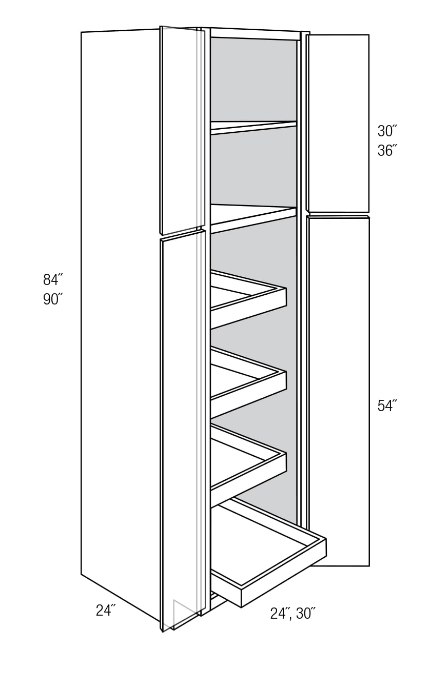 Wp2490brt Tall Pantry Cabinet With Roll Out Trays Quincy Espresso Rta Kitchen Cabinet