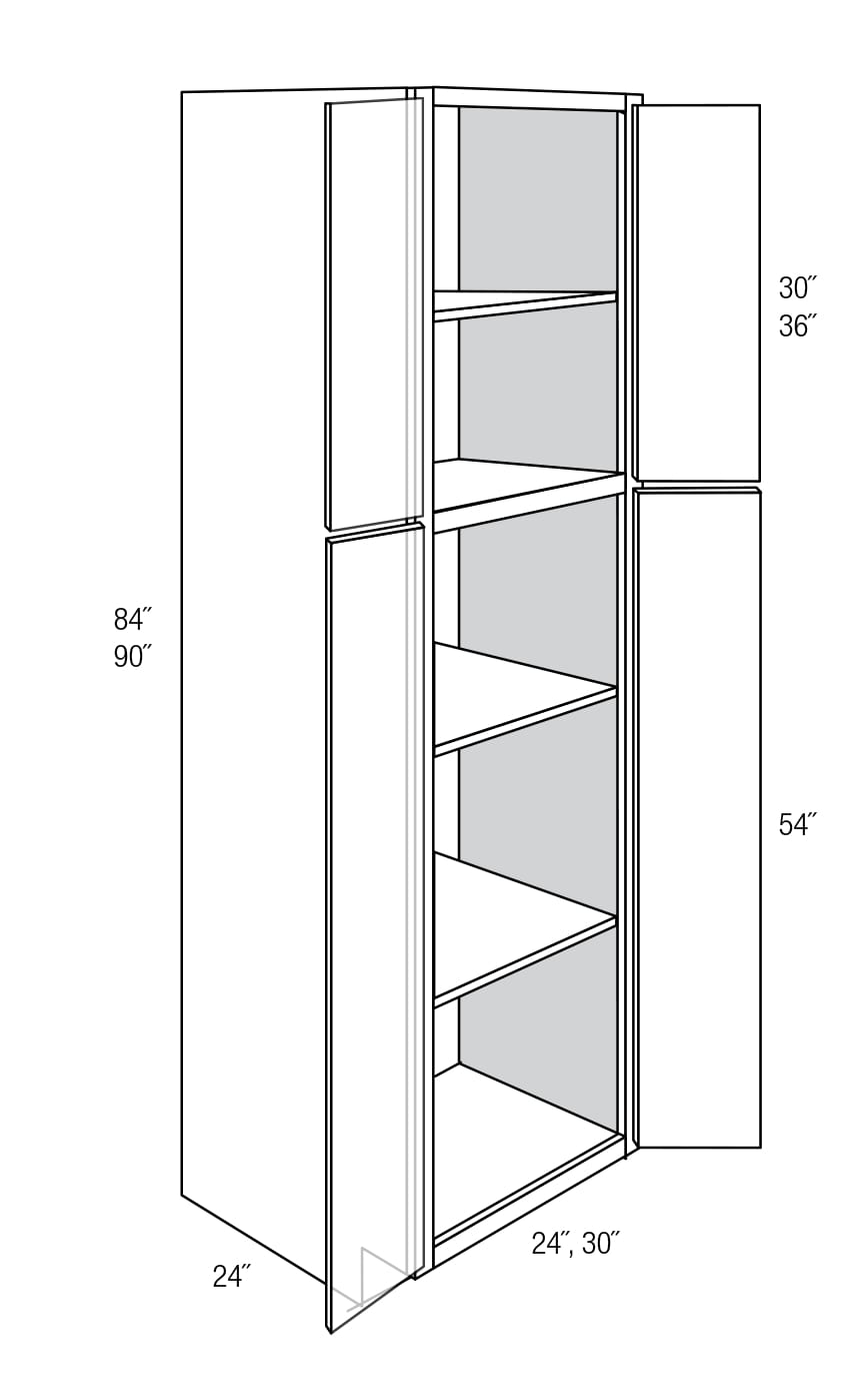 WP2490B: Tall Pantry Cabinet: Dover RTA Kitchen Cabinet