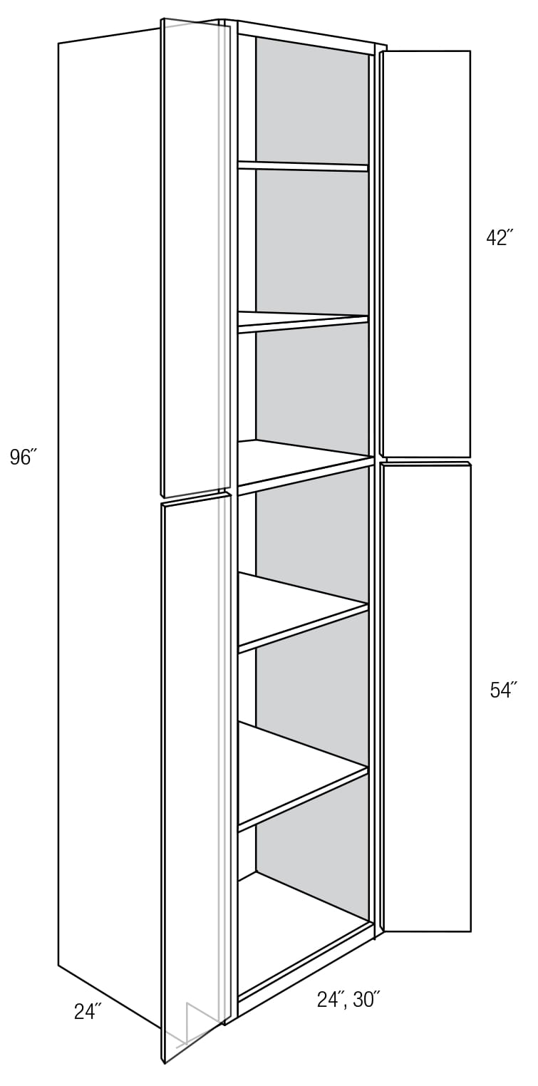 WP2496B: Tall Pantry Cabinet: Dover RTA Kitchen Cabinet