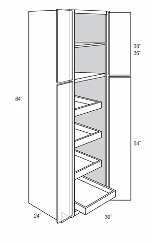 WP3084BRT: Tall Pantry Cabinet With Rollouts: Upton Brown ...