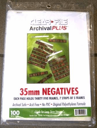 100 Clear File Archival Negative Pages 35mm - 7 strips of 5