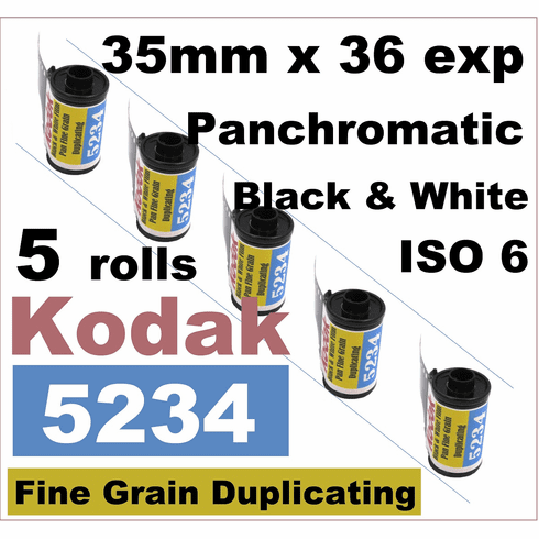 5 Rolls Kodak 5234 Black & White Film Pan Fine Grain Duplicating ISO 6 35mm x 36 Exp