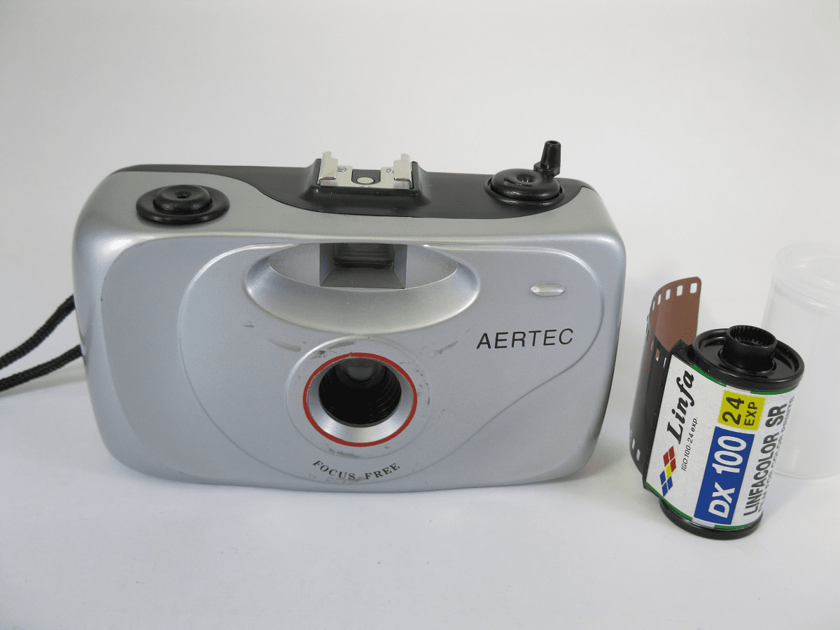 AERTEC 35mm Film Camera with a 24 Exposure, ISO 100 Color Film Sh*tty Crappy Camera Special