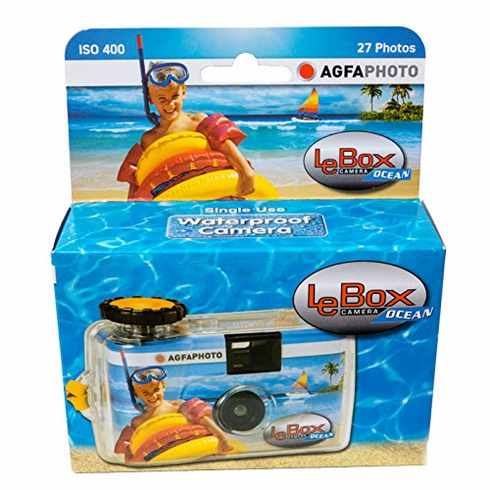 Agfa Photo LeBox Ocean 35mm Waterproof Disposable Camera, 27 Exposure, ISO 400 Color Film