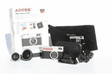 Aotek A8 Mini Retro 5MP Digital DV Camera with Two Lenses, Fisheye & Wide+Macro (Chobi CAM) Little Leica
