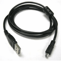 Black USB 2.0 A to 8-Pin Mini B Cable w/ Ferrite - 1.5M / 59 Inches for Nikon CoolPix P90 + Others
