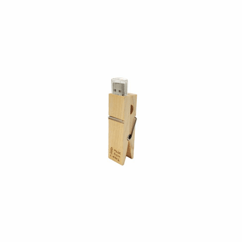 Clothespin USB 8GB Real Wood, Plastic Cover