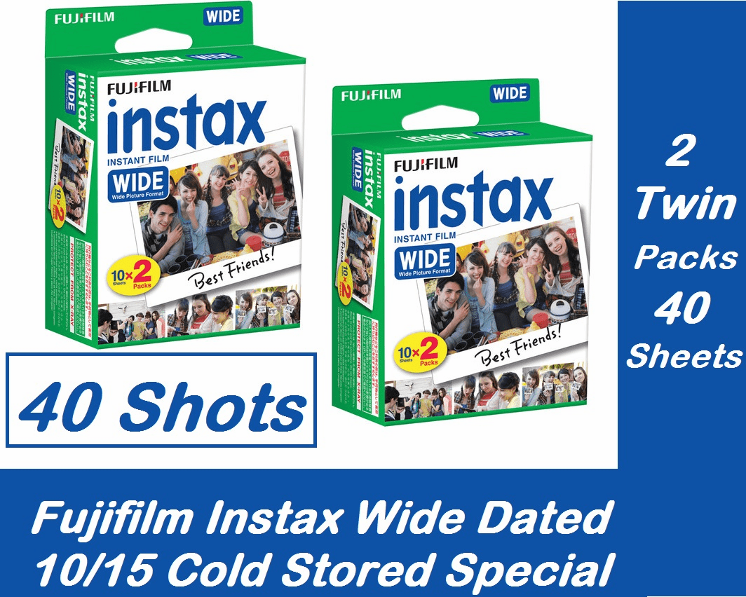 FujiFilm INSTAX Wide Instant Film 40 Sheets - 2 Twin Packs Cold Stored Special Dated 10/2015