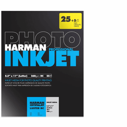 Harman Crystaljet Photo Inkjet 8.5 x 11 / 25 + 5 Gloss Paper (30 Sheets)
