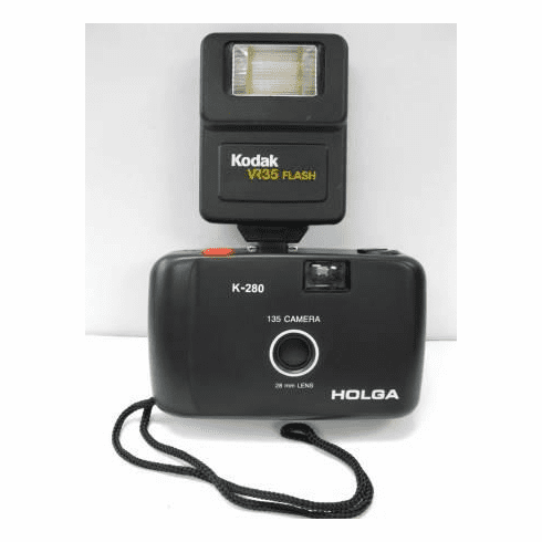 Holga 135 35mm Camera with 28mm Lens K-280 W/ Kodak VR35 Flash