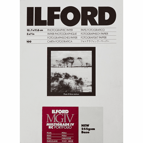 "Ilford Multigrade IV RC Portfolio MGD.44M Black & White Variable Contrast Paper 5"" x 7"" Pearl, 100 Sheets"