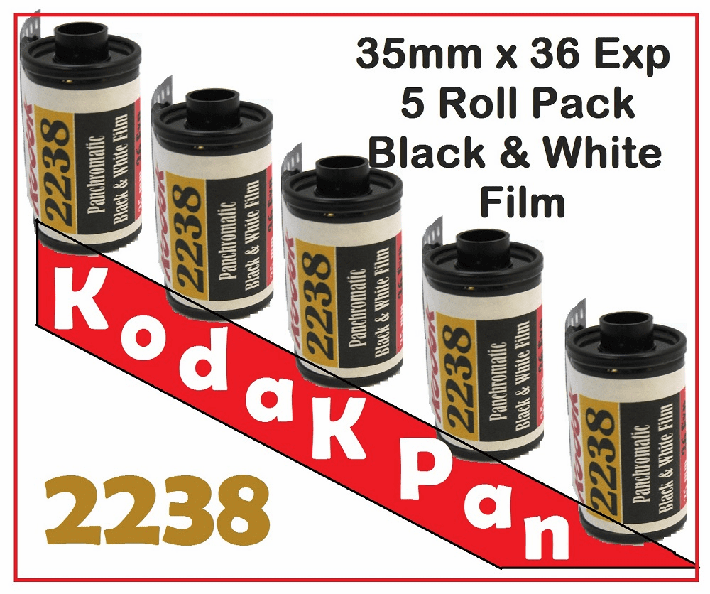 Kodak 2238 Black & White Film Pan ISO 25 35mm x 36 Exp Roll - 5 Rolls