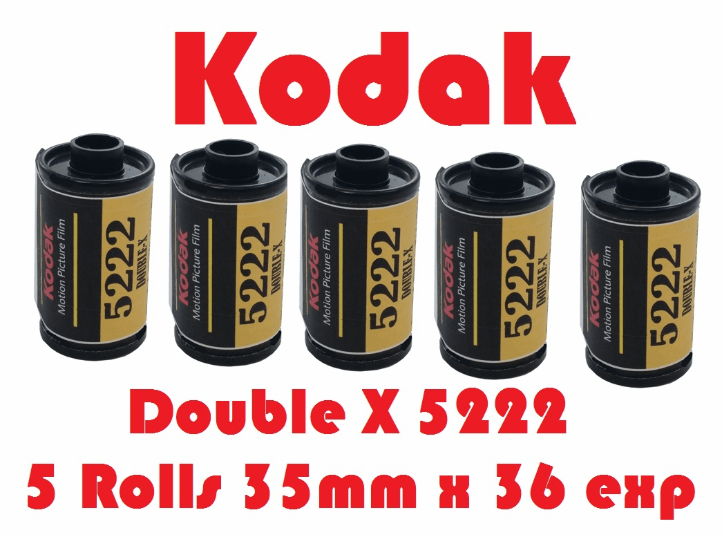 Kodak 5222 Double - X Black & White Film 35mm x 36 Exposures ISO 250 - 5 Roll Pack