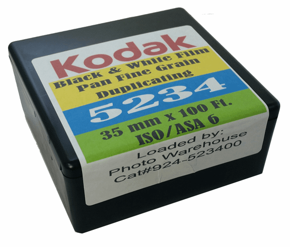 Kodak 5234 Black & White Film Pan Fine Grain Duplicating ISO 6 35mm x 100 Ft. Roll