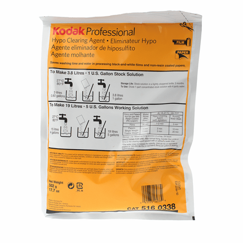 Kodak Hypo Clearing Agent, for Removal of Fixer from Black & White Films and Papers, Powder to Make 5 Gallons