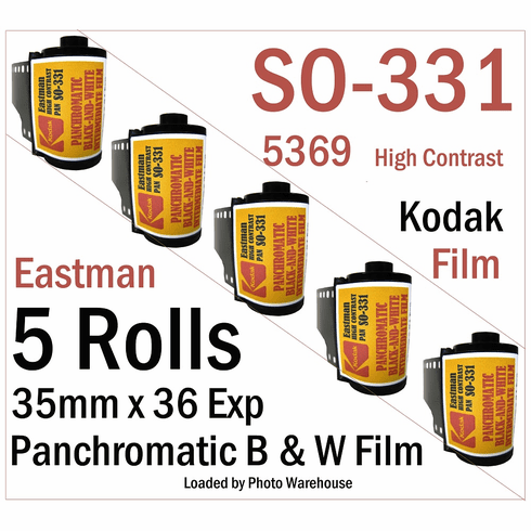 Kodak SO-331 (5369) High Contrast Pan Black and White Film 35mm x 24 Exp. ISO 25 - 5 Roll Pack