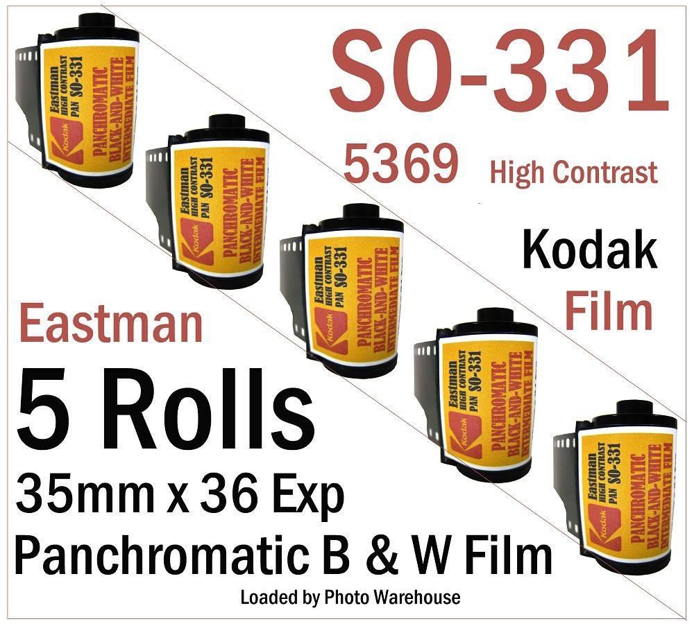 Kodak SO-331 (5369) High Contrast Pan Black and White Film 35mm x 24 Exp   ISO 25 - 5 Roll Pack