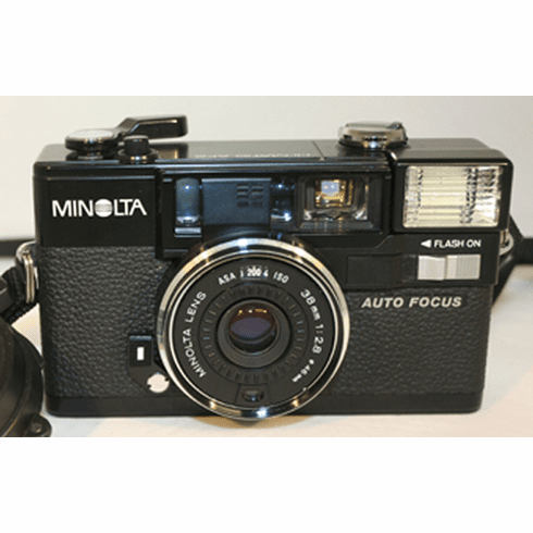 Minolta Hi-Matic AF2 w/38mm 1:2.8, Leather Case, Strap - Used