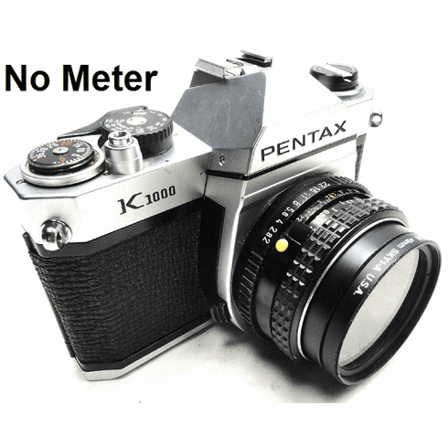 Pentax K1000 35mm SLR Student Camera with 50mm Lens - No Light Meter - Sunny 16 - Used -
