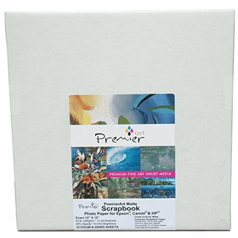 "PremierArt Matte Scrapbook Two-Sided Inkjet Paper 12"" x 12"" / 10 Sheets SCR1003"