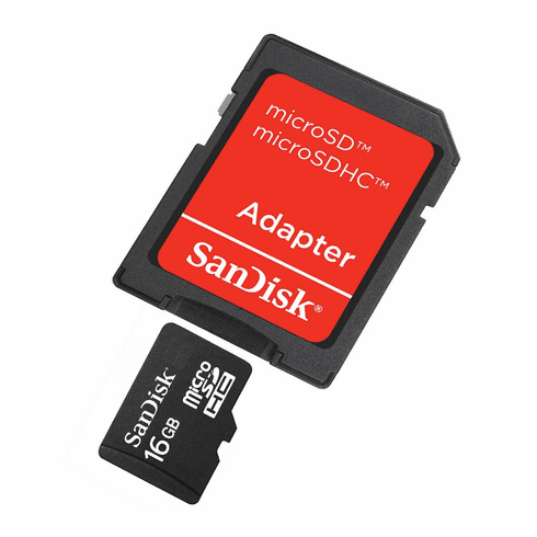 SanDisk 16GB Micro SD SDHC Memory Card With Adaptor