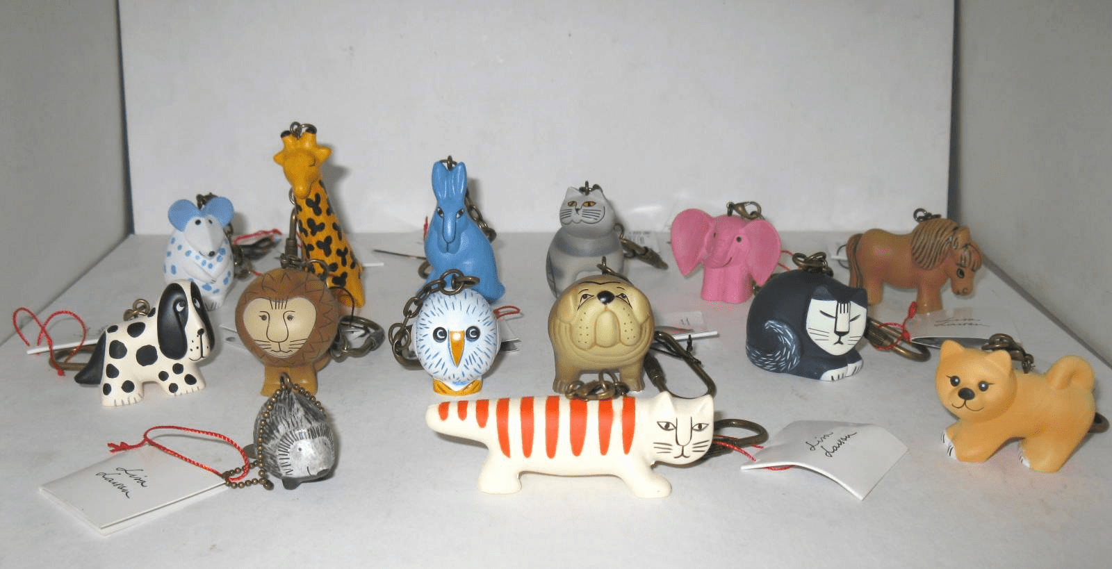 Set of 14 Different Lisa Larson Small Animal Keychains Key Rings Brand New with Tags