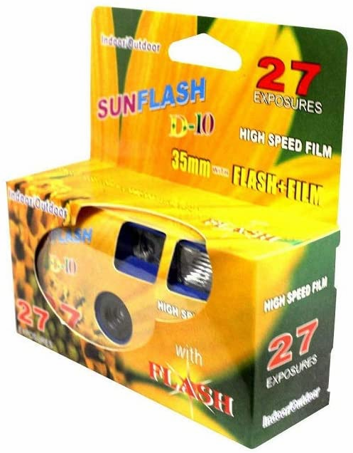 Sunflash 35mm Disposable Flash Camera, 27 Exposure, ISO 400 Color Film D-10