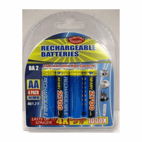 Sunflash Pack of 4 AA Rechargable Batteries