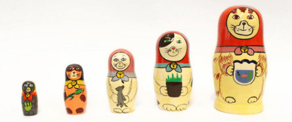 Superheadz Cat Wooden Matryoshka Russian Nesting Dolls