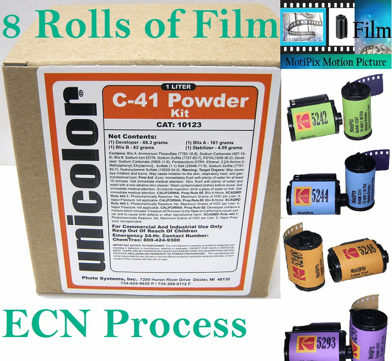 Ultrafine Unicolor C-41 Kit with 8 Rolls of Kodak Motion Picture MotiPix Film