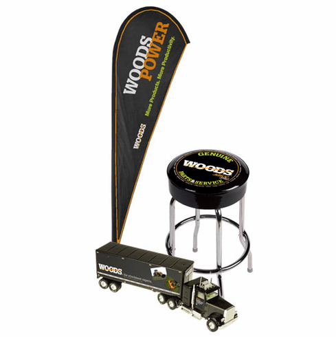 1 Woods Outdoor Tear Drop Flag and 1 Woods Counter Stool and Receive a FREE Woods 1/23 Scale Tractor Trailer