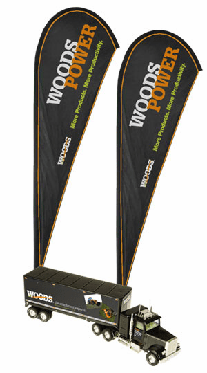 2 Woods Outdoor Tear Drop Flags and Receive a FREE Woods 1/23 Scale Tractor Trailer