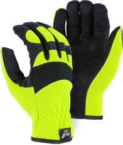 "2136HY ARMOR SKIN&#153 HAWK SYNTHETIC LEATHER HI-VIS MECHANICS GLOVES W/SLIP-ON WRIST<font color=""000000""> CLOSEOUT PRICE $7.99"