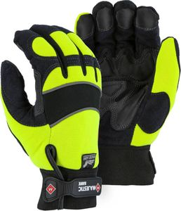 2145HYH ARMOR SKIN&#153 WINTER HAWK WATERPROOF & INSULATED HI-VIS MECHANICS GLOVES w/ANTI-SLIP DOUBLE PALM & FINGERTIPS<BR>CLOSEOUT PRICE $11.99