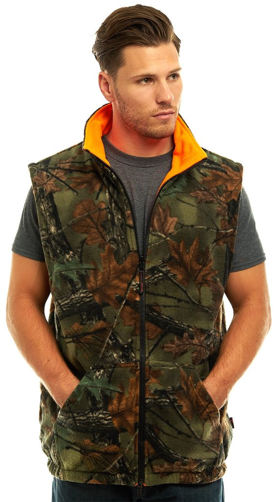 0478544c0963f 3321-84 CAMO TO BLAZE ORANGE REVERSIBLE POLY FLEECE VEST<br>SIX PACK