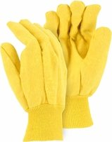 3459-3 HEAVY DUTY 18oz DOUBLE WOVEN COTTON YELLOW CHORE GLOVES IN 3 PAIR PACKS