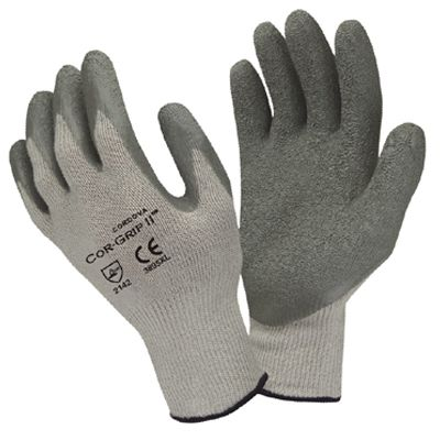 3895 COR-GRIP II, 10 GAUGE GRAY POLY/COTTON KNIT LATEX DIPPED COATING GLOVE - BULK