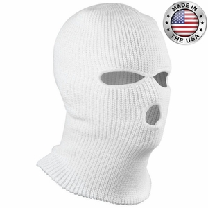 40016W WHITE KNIT 3-HOLE FACE MASK
