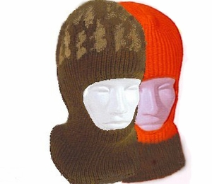 41 HEAVYWEIGHT KNIT FACE MASK<br>CAMO REVERSIBLE TO BLAZE ORANGE CLOSEOUT PRICE $7.99