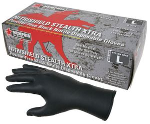 6062 NITRISHIELD STEALTH  XTRA&#153 6mil 12inch POWDER-FREE BLACK NITRILE DISPOSABLE GLOVES
