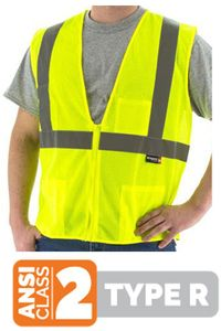 """75-3201 CLASS 2 HI-VIS MESH SAFETY VESTS w/2"""" REFLECTIVE STRIPING"""
