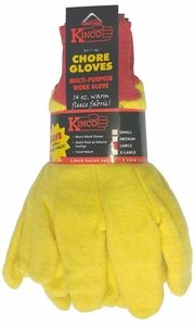 814-3  BANDED 14oz YELLOW CHORE GLOVES IN 3 PAIR PACKS